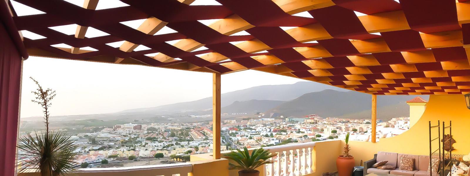 Wooden Terrace with Interlacing Fabric, Costa Adeje, Tenerife